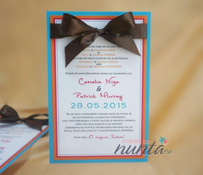 Invitatie de nunta Love Colors. O invitatie colorata, potrivita pentru cei cu spiritul vesel.