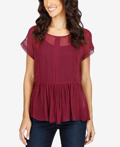 Effortlessly enviable daytime style is all yours in this pretty peplum top from Lucky Brand. | Shell and lining: viscose | Machine washable | Imported | Scoop neckline | Pullover styling | Short sleev