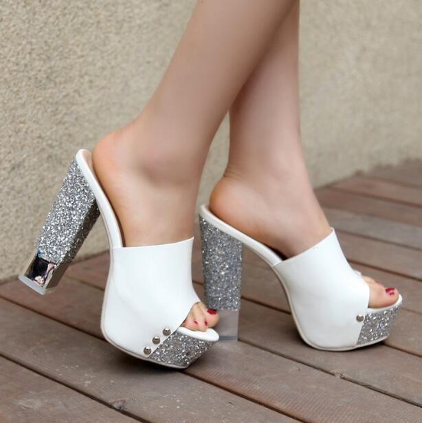 Little Feet Platform Chunky High Heel Slip On Sandals SS35