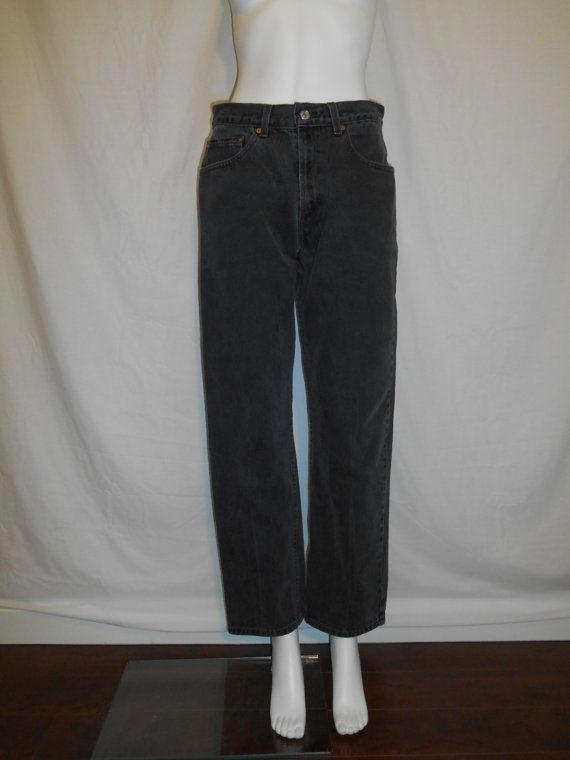90s Levis 505 zip fly black denim jeans by ATELIERVINTAGESHOP