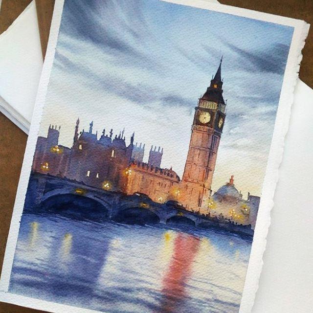 When your friend loves London and you love to paint   Когда ты любишь рисовать, а дорогой друг любит Лондон, то одной картинкой можно сделать приятное сразу двум людям