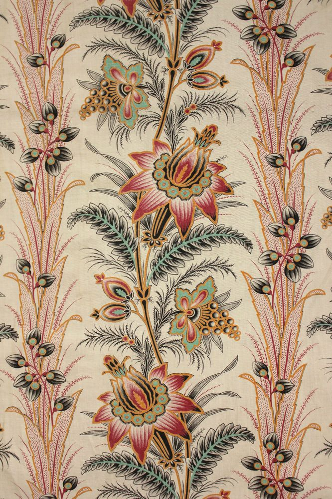 Antique French 19th century fabric c1880 Indienne c1880 printed material