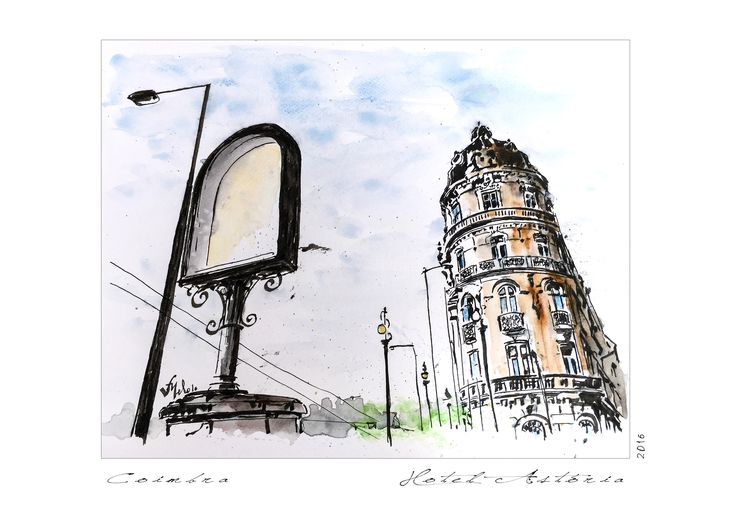 Victor Melo ~ Coimbra ~ Sketch ~ Indian ink + Watercolor