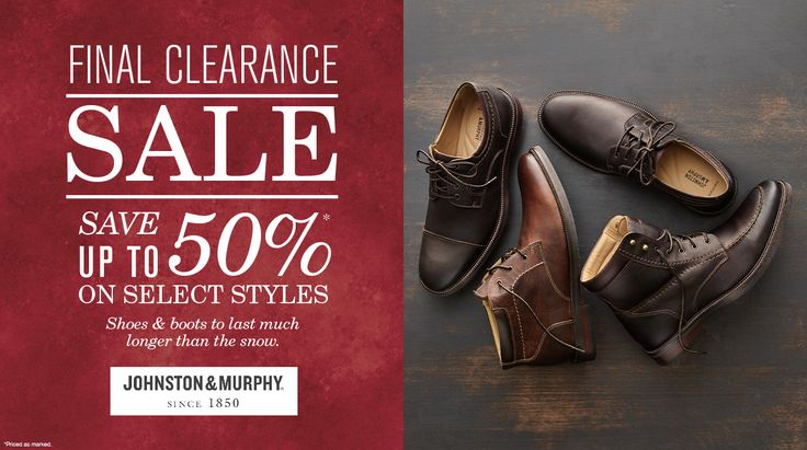 Final Clearance Sale Save Up To 50% On Select Styles on #Johnston&Murphy  #Boots #Shoes #Discount #Mens #Shopping