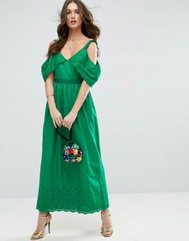 ASOS Cold Shoulder Broderie Maxi Dress - Green