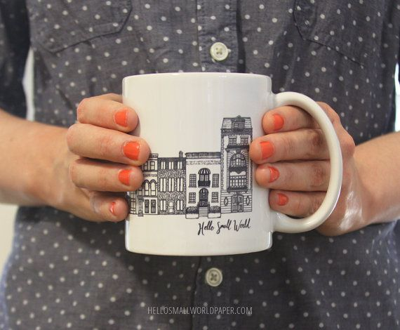NYC Architecture Mug by Hello Small World, Coffee Cup, Tea, Mug, New York Mug…