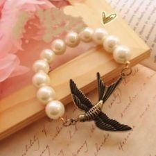 New Womens Classical Acient Swallow Bracelet Alloy Imitation Pearl Best Gift