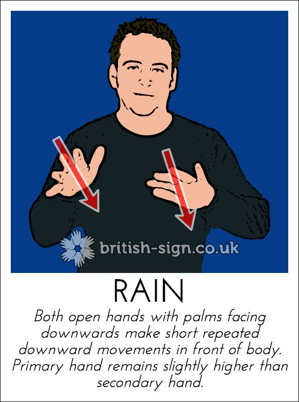 Today's British Sign Language sign is: RAIN #BSL #BritishSignLanguage - View more signs at www.british-sign.co.uk