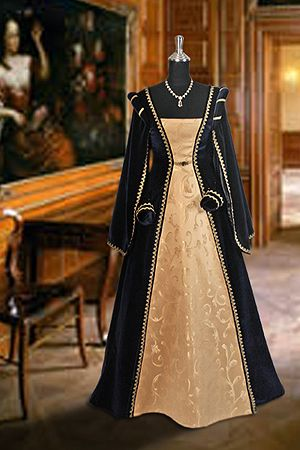 Renaissance Dress No. 5 Dark Blue, Gold - 300.00 USD - Medieval and Renaissance Clothing, Handmade by Your Dressmaker