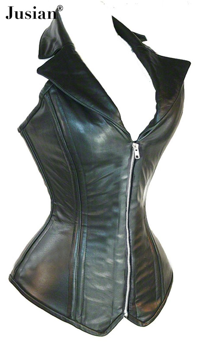 Jusian Women's Leather Corset Lingerie Bustier Top With G-string Black Color AME-2957