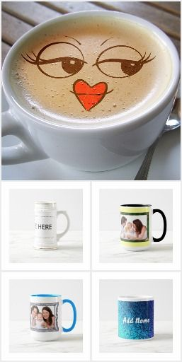 Mugs, lovers mugs, steins, travel mugs, frosted beer mugs that are pretty, decorative and funny. Something for everyone for all seasons and occasions. All of these plus many more on  #sandyspider  #Zazzle