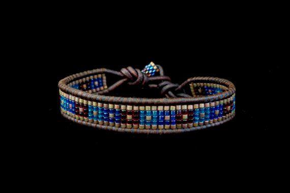 Bracelet Wrap unique en cuir marron avec ton bijou par beadbound