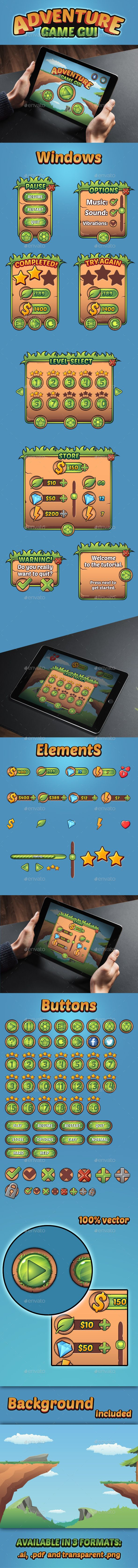 Adventure Game GUI - User Interfaces #Game #Assets | Download http://graphicriver.net/item/adventure-game-gui/11051082?ref=sinzo
