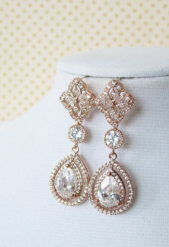 Rose Gold Teardrop Deluxe Cubic Zirconia Teardrop Earring - vintage halo style earrings, bridal gifts, drop, dangle, pink rose gold weddings, www.colormemissy.com