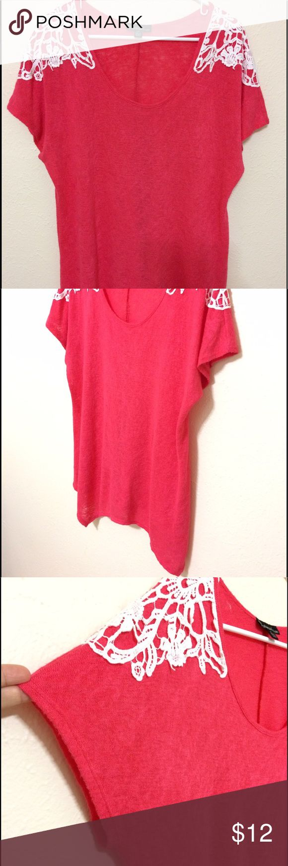 Hot pink t-shirt Light and flowy hot pink shirt. Has very beautiful white floral designs on each shoulder. Very thin and airy feel. Slightly see through but I never had to wear an undershirt with it. Pet free and smoke free home. Tops Tees - Short Sleeve