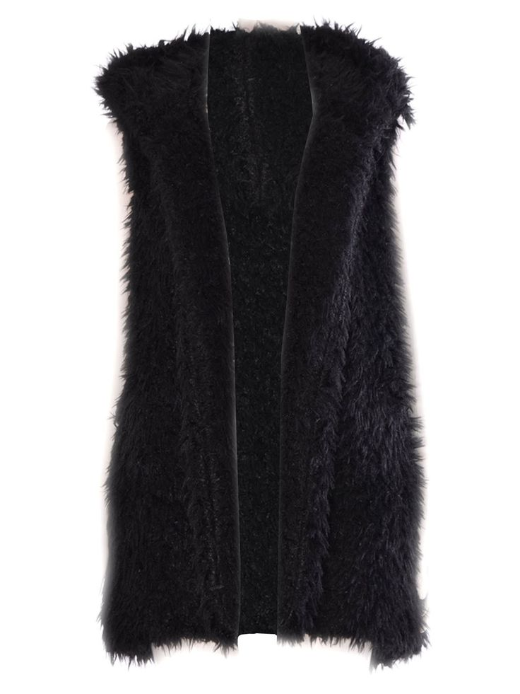 Women Celeb Inspire Michelle Kegan Fur Gilet Waistcoat Hooded Black SM-ML