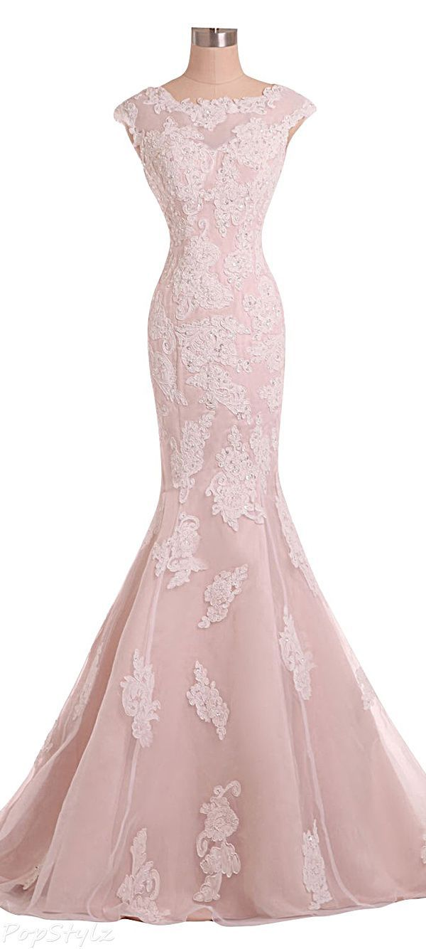 2016 Custom Charming Pink Lace Wedding Dress, Appliques Beading Evening Dress…
