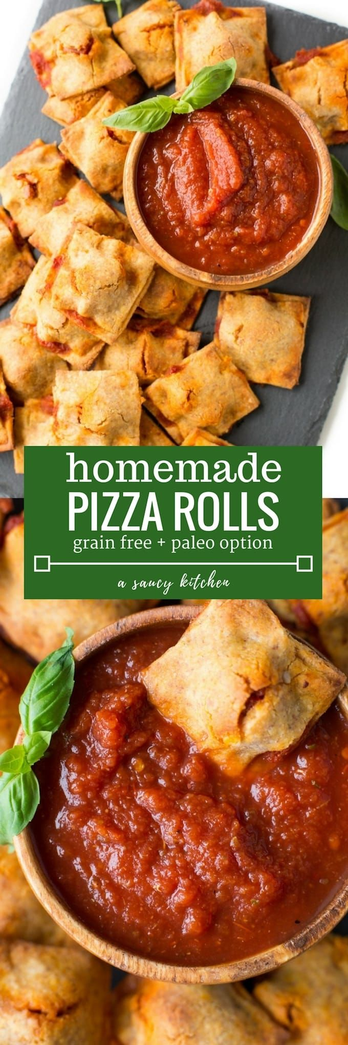 'Healthified Homemade Pizza Rolls made with a grain free sweet potato crust | Paleo + Gluten Free + Dairy Free