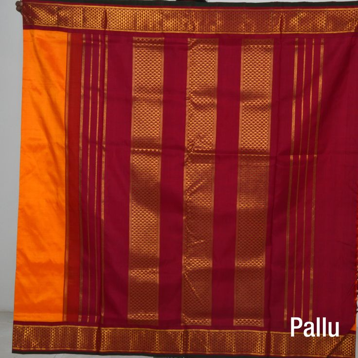 Traditional yet vibrant Maango yellow with maroon border madisaar