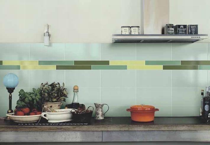 Green kitchen by Vogue ceramics.