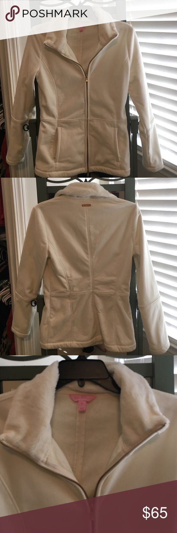 EUC Lilly Pulitzer cream jacket size XS EUC Lilly Pulitzer cream jacket size XS!  Only worn once!  This jacket is super comfy and soft.  Zip pockets in front and gold zipper in front.  Purchased for $125. Lilly Pulitzer Jackets & Coats