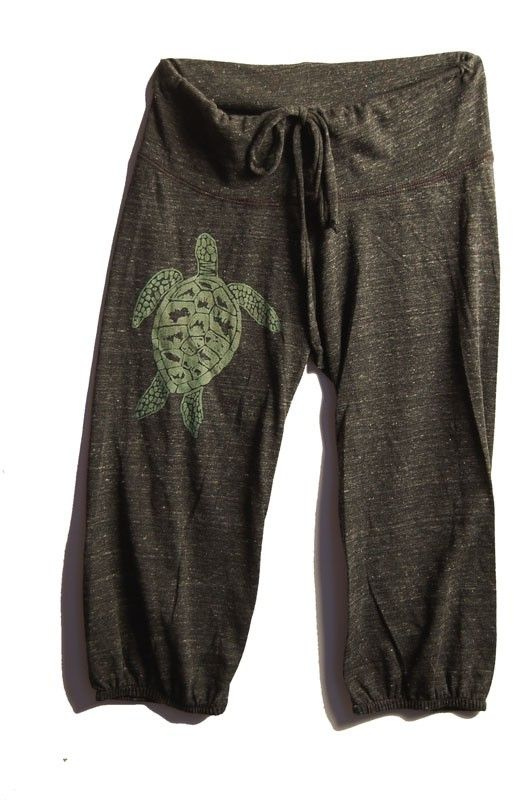 be still my Sea Turtle Pants Cropped Pants Yoga door nicandthenewfie, $26.00