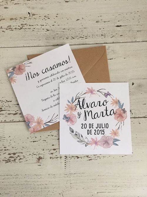 Invitación de boda boho chic #invitacion #boda #bohochic #boho #wedding #invitation