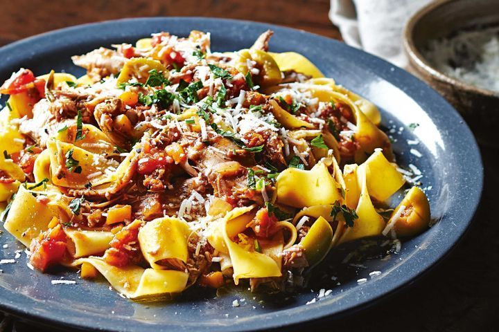 Slow-cooked duck ragu with pappardelle