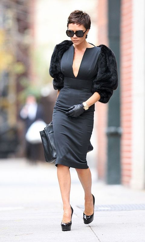 Victoria Beckham Wearing A Victoria Beckham Dress To The Burberry Show During London Fashion Week, 2009
