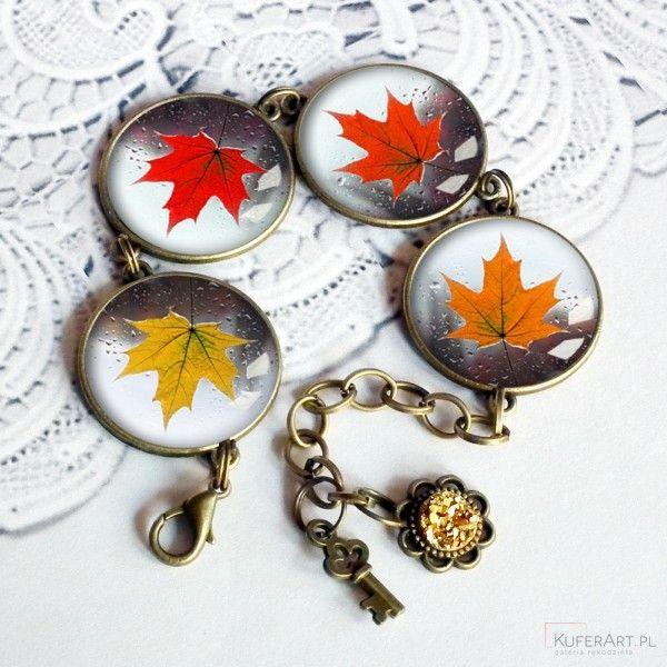 Jesienne liście - piękna bransoletka - Bransoletki - Biżuteria artystyczna