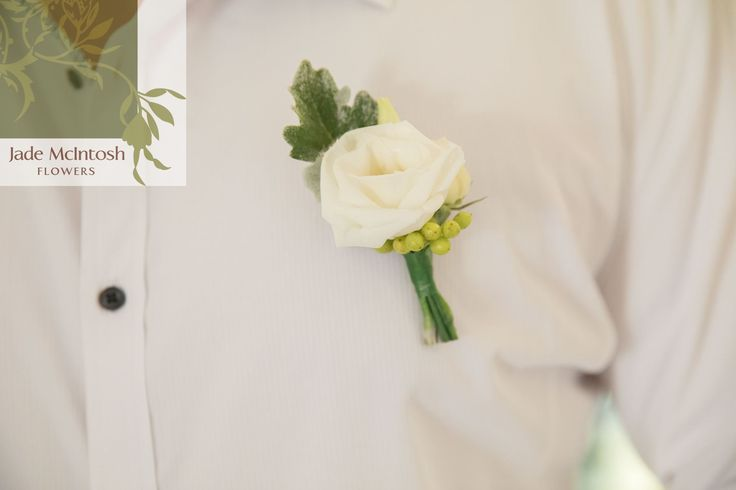 Fresh and simple - a prefect white bloom with dusty miller and lime-green berry. www.jademcintoshflowers.com.au www.secheny.com