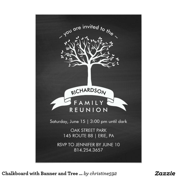 411 best family reunion invitationsgiftst shirts images on chalkboard with banner and tree family reunion card invitation templatesinvitation stopboris Images