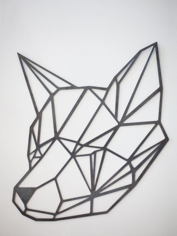 D Shape Line Drawings : Steel geometric fox wall art by factorycustomfab on etsy