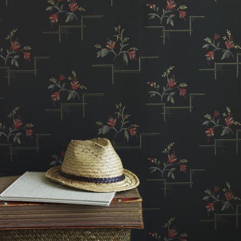 Katarina tapet - svart - Sandberg Wallpaper
