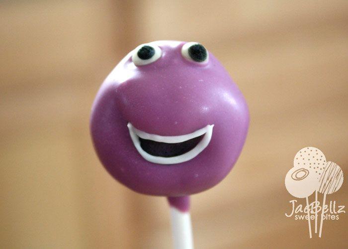"Barney cake pop- for you ""soon to be Mrs."" @Jane Daly Howe Dickson- last minute wedding idea??? hahaha"