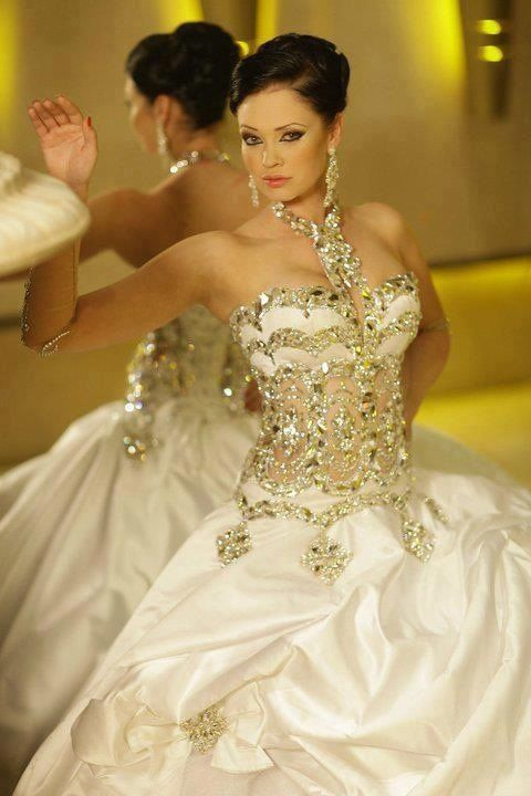 Gorgeous Wedding Gown Lots Of Bling With A Drop Waist Partially Sheer The Looks Gold Tone And Possibly Silver Combined