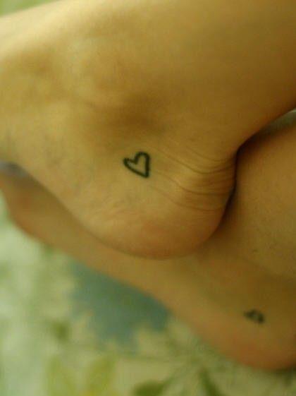: )Friends Tattoo, Best Friends, Small Heart Tattoo, Small Tattoo, Feet Tattoo, Ankle Tattoo, A Tattoo, Tiny Tattoo, Sisters Tattoo