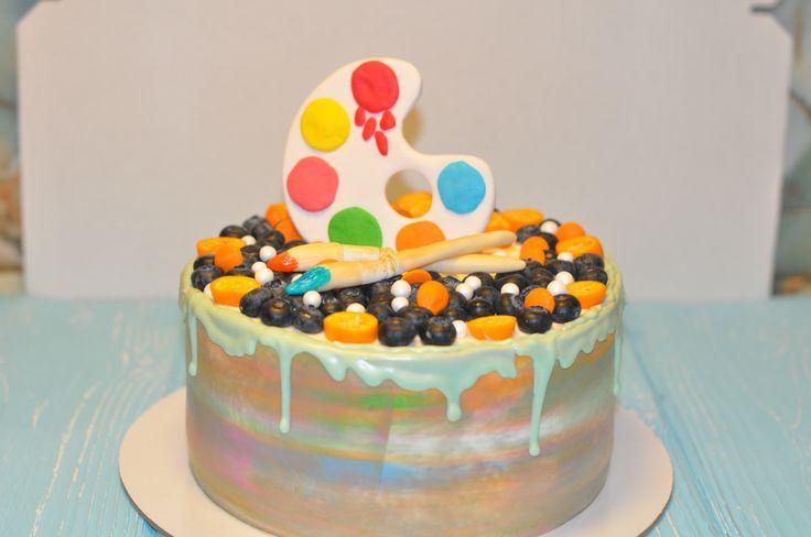 Торт для художника) красочный и яркий)