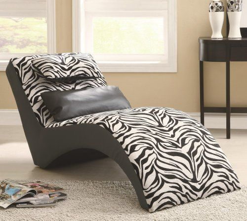 Coaster accent seating modern zebra print furniture chaise for Accent traditional chaise by coaster