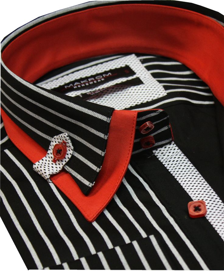 Mens Formal Casual Dress Shirts Black & White Stripe Pure Cotton Slim Fit