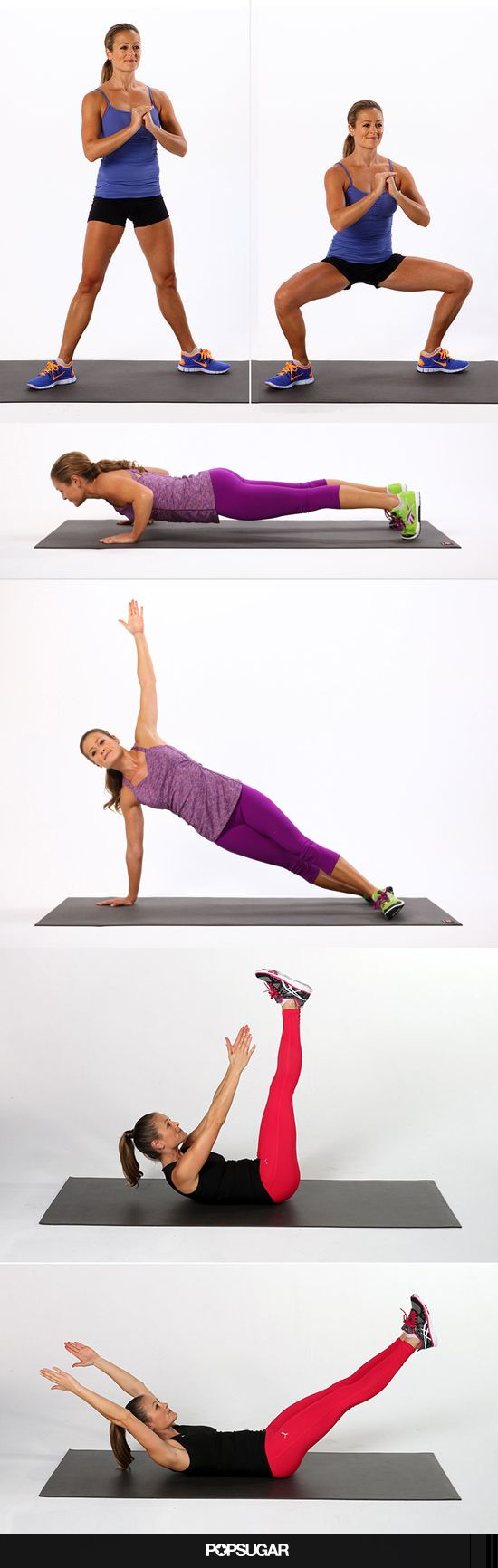 This total-body fitness challenge combines exercises from all three of these challenges to strengthen and firm your entire body. It's short workout anyone can fit into their busy day because it only takes a few intense minutes.