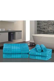 6 toalhas de algodão egípcio<BR>500 g/m² - Turquesa escuro