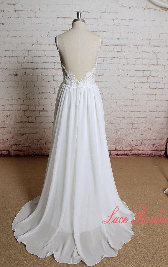 Backless Ivory Chiffon A Line Wedding Dress with Spaghetti Straps