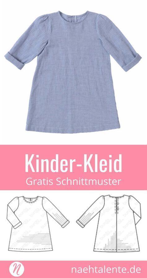 Mädchenkleid aus Baumwollstoff | Nähen || Schnittmuster, Stoffe ...