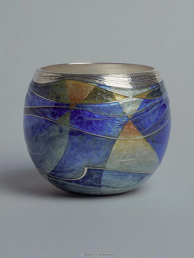 Seascape Vessel/Silver and enamel/6cm high/Private collection