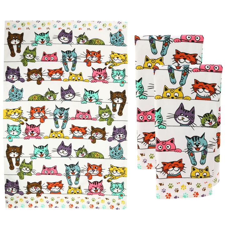 Add warmth and whiskers to your kitchen decor with this fun feline towel set! Rows of colorful kitties line the cotton kitchen towels, making meal time and cleanup time that much more paw-some.