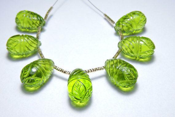 7 Pcs Very Beautiful Peridot Green Quartz Hand Carved Drops