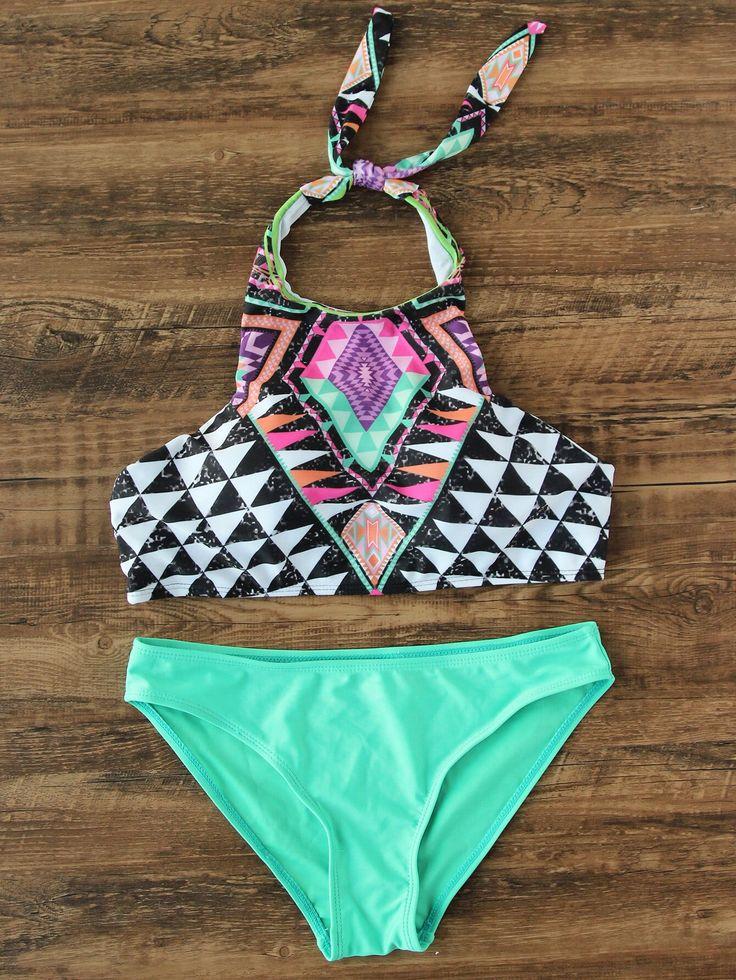 Completo bikini misto mix & match con scollo all'americana fantasia geometrica