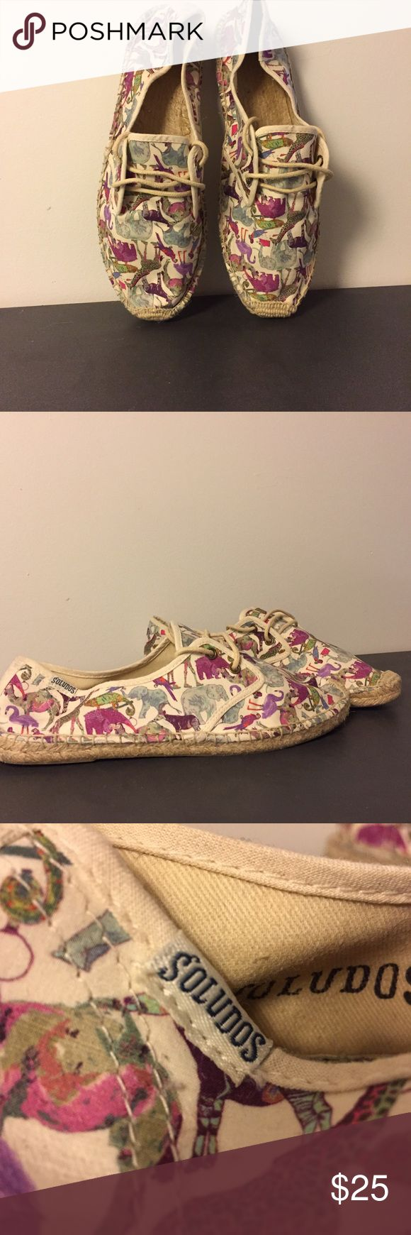 Soludos espadrilles - cute safari animal print! Worn two times. Animal print is adorable, featuring giraffes and other safari animals. Limited edition print Soludos Shoes Espadrilles