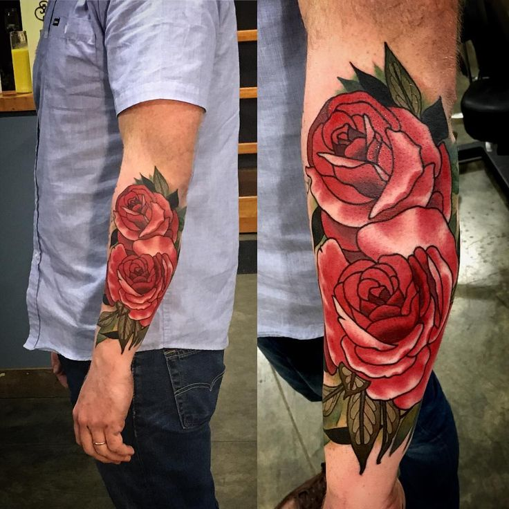 """#bold and #beautiful #roses for #man by Sean Wright @seanwrighttattoos #botanical #traditionalrose #wonderlandpdx #portlandtattoo"""